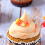 Browned Butter Spice Cupcakes w/ Candy Corn Frosting