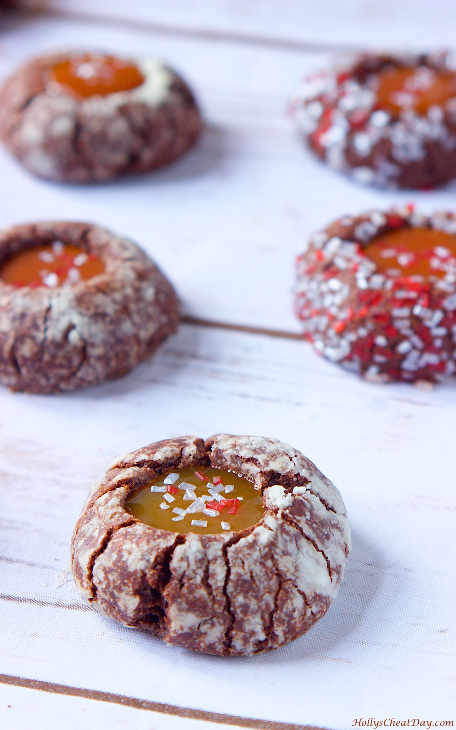 Chocolate Thumbprint Cookies w/ Caramel Sauce - HOLLY'S CHEAT DAY