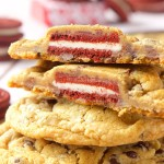 Red Velvet Oreo Stuffed Chocolate Chip Cookies